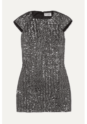 SAINT LAURENT - Sequined Crepe Mini Dress - Silver