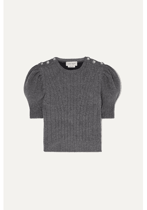 Alexander McQueen - Cropped Crystal-embellished Wool-blend Sweater - Gray
