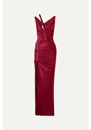 Versace - Cutout Button-detailed Ruched Satin Gown - Burgundy