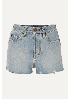 SAINT LAURENT - Distressed Denim Shorts - Blue