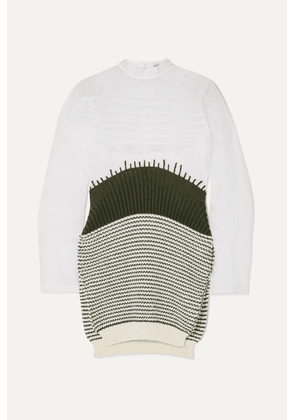 Loewe - Cotton-organza And Striped Wool Sweater - White