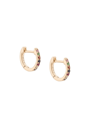 Ef Collection 14kt yellow gold rainbow mini huggie earrings