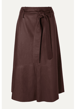 Vince - Belted Leather Midi Skirt - Brown