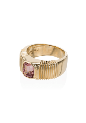 Retrouvaí 14K yellow gold and pink ribbed sapphire ring - METALLIC