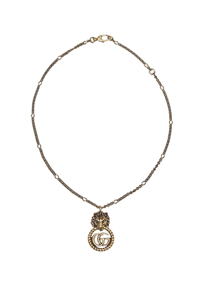 Double G lion head necklace