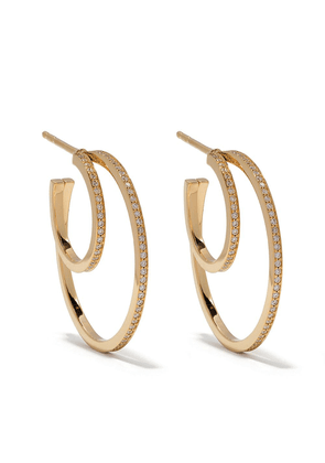 Georg Jensen 18kt yellow gold Halo brilliant cut diamond earhoops