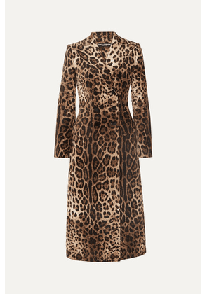 Dolce & Gabbana - Leopard-print Double-breasted Cotton-blend Velvet Coat - Brown