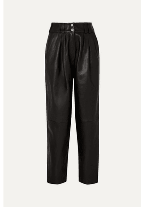 Balmain - Pleated Leather Tapered Pants - Black