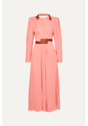 Stella McCartney - + Net Sustain Faux Leather-trimmed Crepe Dress - Pink