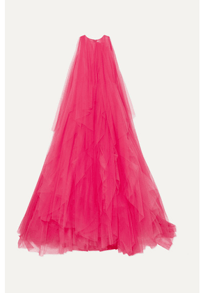 Carolina Herrera - Ruffled Tulle And Organza Gown - Bright pink