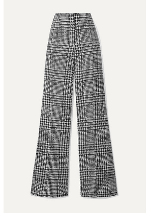Carolina Herrera - Prince Of Wales Checked Wool And Silk-blend Wide-leg Pants - Black