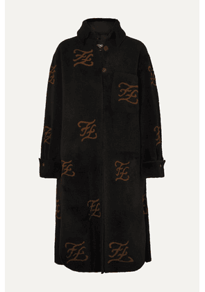 Fendi - Printed Shearling And Leather Coat - Camel