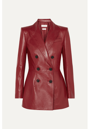 Alexander McQueen - Double-breasted Leather Blazer - Red