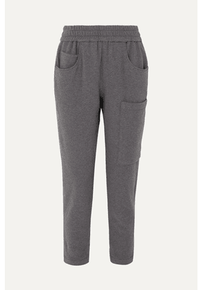 Brunello Cucinelli - Bead-embellished Mélange Stretch-cotton Jersey Track Pants - Gray