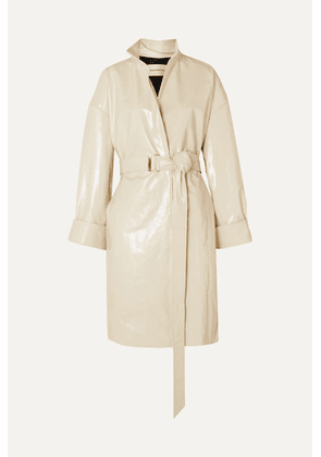 Alexandre Vauthier - Oversized Belted Patent-leather Trench Coat - Ivory