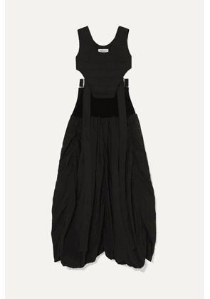 AMBUSH® - Astro Cutout Ribbed-knit Paneled Quilted Cotton-blend Maxi Dress - Black