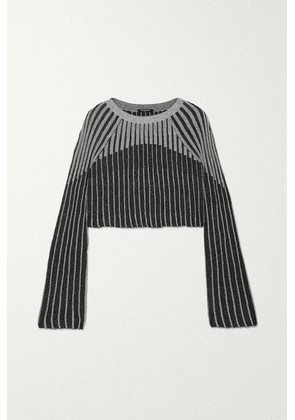 Balmain - Cropped Metallic Ribbed-knit Top - Black
