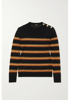 Balmain - Button-embellished Lurex-trimmed Wool Sweater - Black