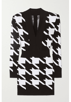 Balmain - Houndstooth Stretch-knit Mini Dress - Black