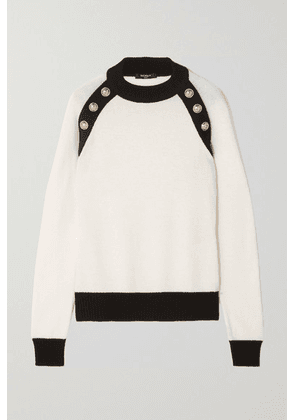 Balmain - Button-embellished Two-tone Wool And Cashmere-blend Sweater - White