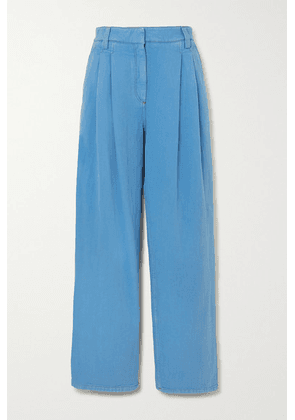 Brunello Cucinelli - Pleated Denim Straight-leg Pants - Blue