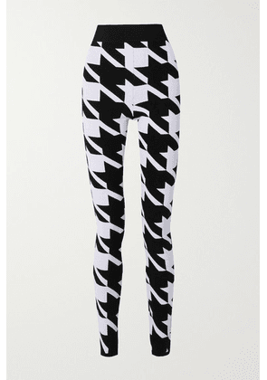 Balmain - Houndstooth Stretch-knit Leggings - Black