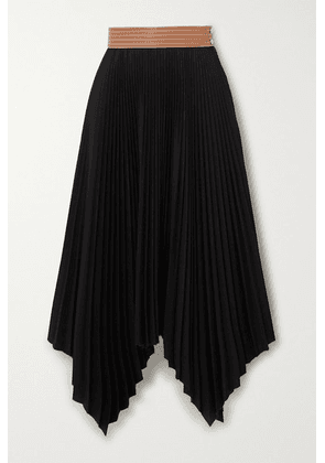 Loewe - Leather-trimmed Asymmetric Pleated Crepe Midi Skirt - Black