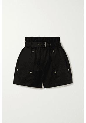 SAINT LAURENT - Belted Cotton And Ramie-blend Twill Shorts - Black