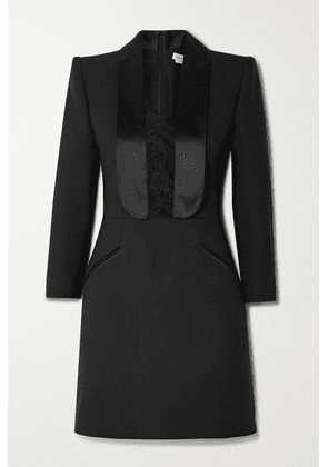 Alexander McQueen - Satin And Lace-trimmed Wool-blend Cady Mini Dress - Black