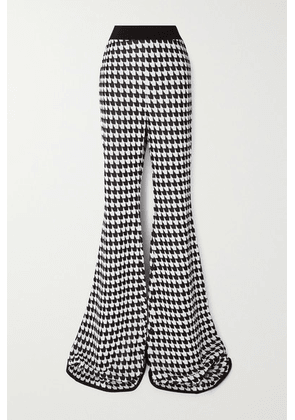 Balmain - Houndstooth Stretch-knit Flared Pants - Black