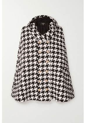Balmain - Hooded Houndstooth Wool-blend Cape - Black