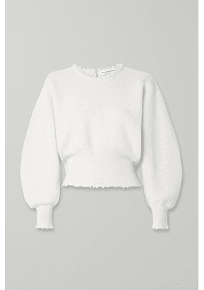 Alexander Wang - Faux Pearl-embellished Cutout Distressed Wool-blend Sweater - Ivory