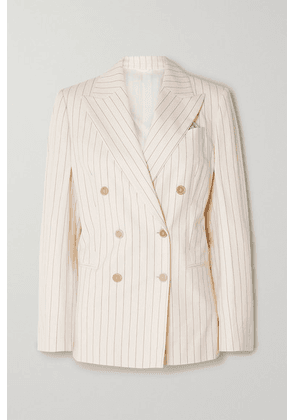 Brunello Cucinelli - Double-breasted Pinstriped Cotton-blend Poplin Blazer - Ivory