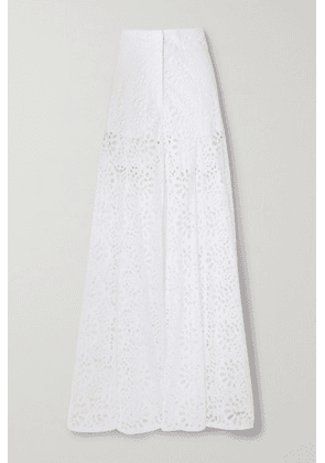 Carolina Herrera - Broderie Anglaise Cotton Wide-leg Pants - White