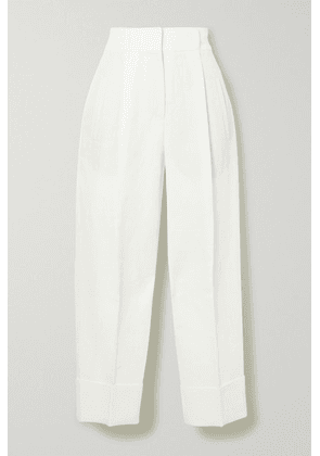 Brunello Cucinelli - Pleated Linen And Cotton-blend Tapered Pants - White