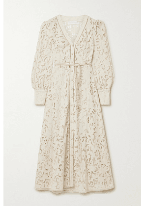 Zimmermann - Freja Belted Broderie Anglaise Cotton Maxi Dress - Ivory