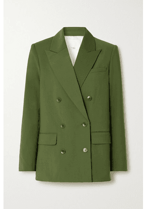 Tibi - Double-breasted Woven Blazer - Army green