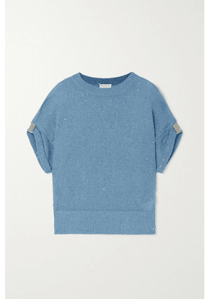 Brunello Cucinelli - Embellished Linen And Silk-blend Sweater - Light blue
