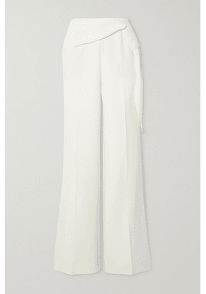 Roland Mouret - Sherbrooke Tie-detailed Wool-crepe Wide-leg Pants - White