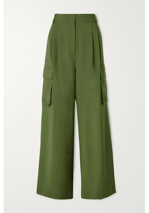 Tibi - Tropical Pleated Woven Wide-leg Pants - Army green
