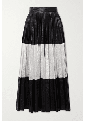 Christopher Kane - Pleated Two-tone Crinkled-lamé Maxi Skirt - Black