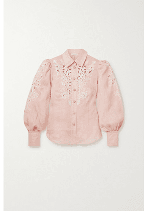 Zimmermann - Freja Broderie Anglaise-trimmed Linen Blouse - Baby pink