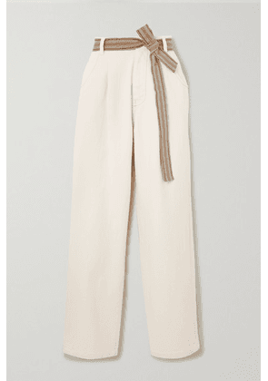 Brunello Cucinelli - Belted Cotton-blend Wide-leg Pants - White