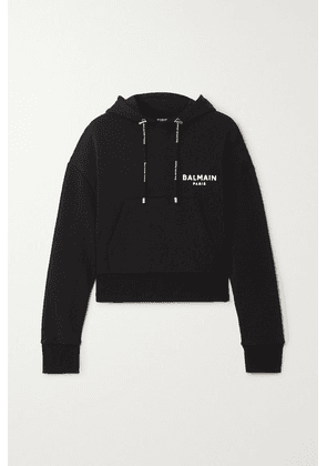 Balmain - Flocked Cotton-jersey Hoodie - Black