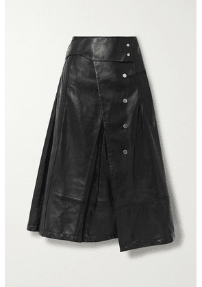 3.1 Phillip Lim - Button-detailed Pleated Leather Wrap Skirt - Black
