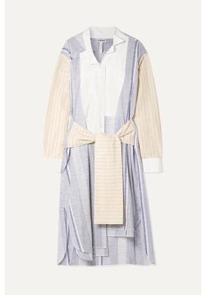 Loewe - Tie-front Striped Cotton And Ramie-blend Midi Dress - Blue