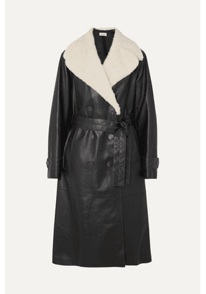 Loewe - Belted Shearling-trimmed Leather Coat - Black