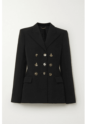 Givenchy - Button-embellished Double-breasted Grain De Poudre Wool Blazer - Black