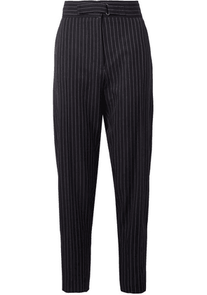 Stella McCartney - Kassidy Belted Pinstriped Wool-blend Tapered Pants - Midnight blue