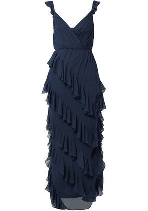 Alice + Olivia - Lessie Ruffled Silk-chiffon Gown - Navy